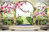 BHXINGMU Benutzerdefinierte Wandbilder Tapeten Pfirsichlandschaften Europäische Gärten Wohnzimmer Tv-Sofa Hintergrund Wandbilder Moderne Tapete 300Cm(H)×450Cm(W)