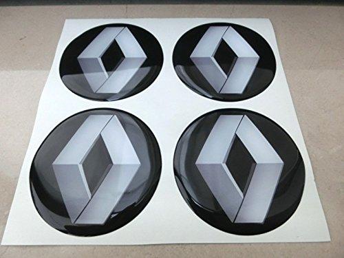 Lot de 4 autocollants effet 3D 50mm, noir, pour caches de roues, enjoliveurs et jantes en alliage