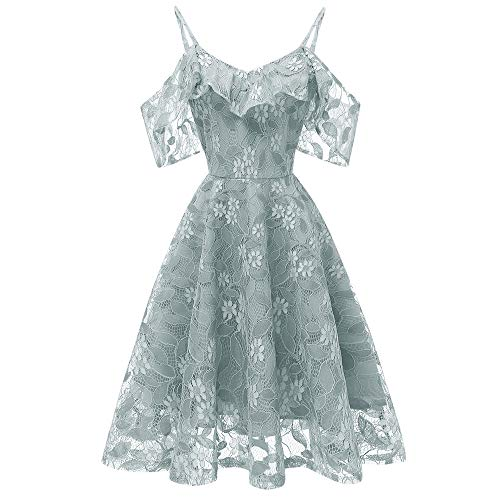 MIRRAY Damen All Season Vintage Prinzessin Blumenspitze Cocktailparty Aline Swing Kleid