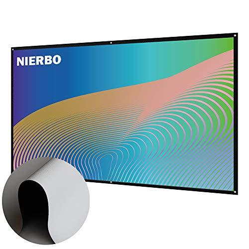 Beamer Leinwand Rollo, NIERBO Neues Upgrade Faltenfrei Portable Projector Screen Beamer-Leinwand 16 9 100 zoll für 3D 4K Heimkino Freiluftkino und das Büro - 220 x 126 cm