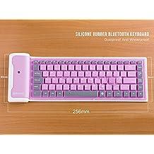LinDon-Tech bastante portátil inalámbrico impermeable lavable silicona Flexible enrollable Bluetooth teclado para Tablet, Smartphone, ordenador portátil, batería de litio recargable, US-Layout (Rosa)