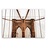 !!! SENSATIONSPREIS !!! Bilderdepot24 hochwertiges Leinwandbild - Brooklyn Bridge in New York - 30 x 20 cm einteilig | Wanddeko Wandbild Wandbilder Bild auf Leinwand | 2235BT