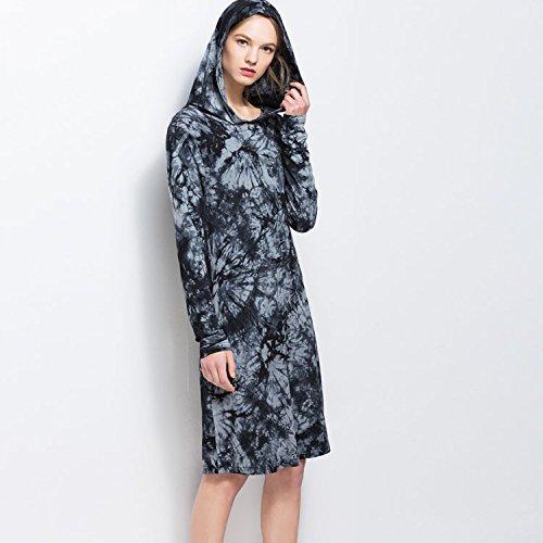 Junshan Femmes Poche Double côté Robes Pull Oversize Ample Blouse Femme Chic Manche Longue Col O Manches Robes Noir
