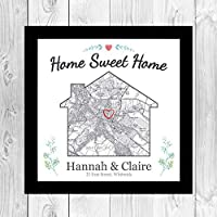 Framed New home gift/House moving present/Personalised OS map house warming/First 1st home gift/White or black wood frame VA004
