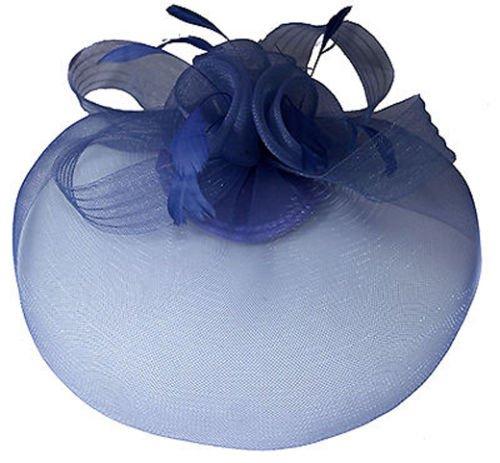 fascinator dunkelblau NAVY dunkelblau Net Fascinator Schleier–Hochzeit Ascot Races Haar Zubehör Disc Clip