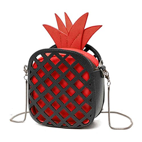 Miaomiaogo Sacchetti di spalla delle donne di cuoio di cuoio dell'unità di elaborazione sacchetto del messaggero delle borse della catena di figura dell'ananas rosso