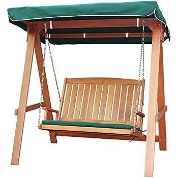 AVANTI TRENDSTORE - Milton - Dondolo in legno di Teak con cuscino e tettuccio verde compresi, dimensioni LAP 166x178,5x117,5 cm