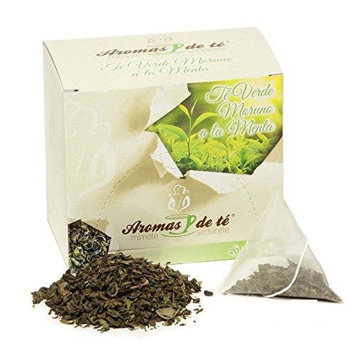 Aromas de Té - Té Verde Moruno China Gunpowder Sabor a Hierbabuena con Pipermint y Aroma Natural de Menta en Bolsitas, 10 Pirámides