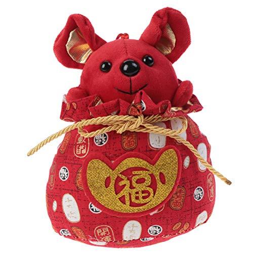 SevenMye 2020 Jahr Ratte Jahr Glücksbeutel Chinesische Ratte Plüsch Maus Plüschtier 17,78 cm