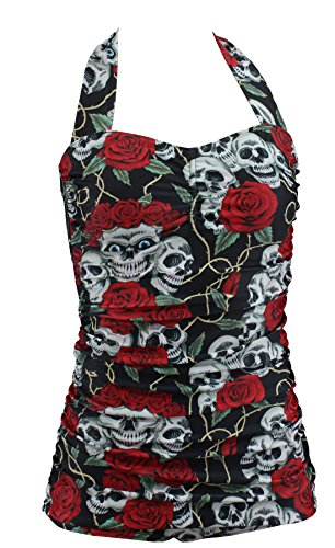 Aloha-Beachwear Damen Neckholder Badeanzug im Vintage Retro Look Rose Skull Totenkopf, A30720 mehrfarbig (XL / 44 / UK 18)