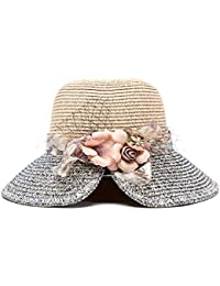 Fzwang Señora Flor Pato lengüeta Plegable Sol Visera Playa Pescador  Sombrero Sombrero Paja 60cm 52196274c8a