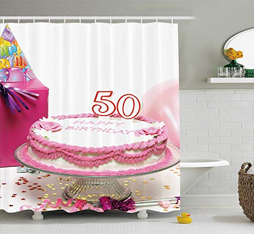 Tgyew 50th Birthday Shower Curtain Delicious Cake With Confetti Stars And Party Hat Presents Special Day Photo Fabric Bathroom Decor Set Hooks