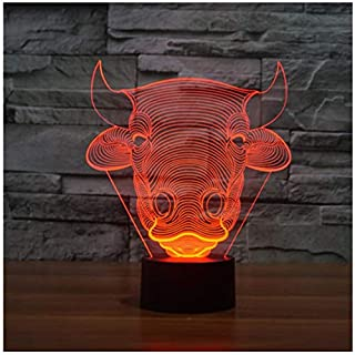 XINGXIAOYU Bull Table Lamp 7 Colors Changing Desk Lamp 3D Lamp Novelty Led Night Lights Led Light Dropship