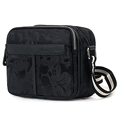 ililily Disney Black Mickey Pattern Cross Body Satchel Bag - bowling-handbags, fashion-bags