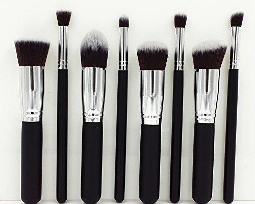8 pcs pinceau de maquillage cosmétiques Fondation Blending Blush Eyeliner Poudre pour le visage Brosse Kabuki - Black Silver