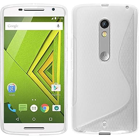 Coque en Silicone pour Motorola Moto X Play - S-Style transparent - Cover PhoneNatic Cubierta + films de protection