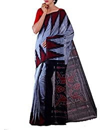 Unnati Silks Women Grey-Black Pure Handloom Sambalpuri Cotton Ikat Saree(UNM22039)