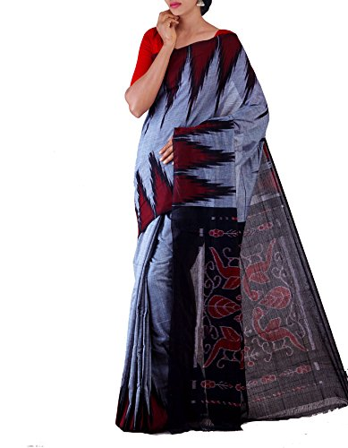 Unnati Silks Women Grey-Black Pure Handloom Sambalpuri Cotton Ikat Saree(UNM22039)