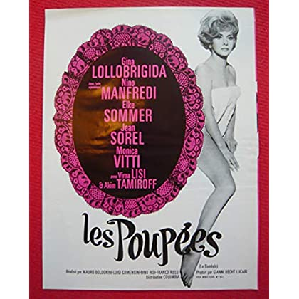 Dossier de presse de Les Poupées – le Bambole - (1965) – 30x23 cm, 4 p – Film de Luigi Comencini avec Gina Lollobrigida, Nino Manfredi – Photos N&B - résumé du scénario - Bon état.