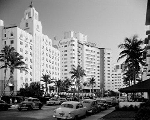 USA Florida Miami Beach Resort hotels on Coliins Avenue Poster Drucken (45,72 x 60,96 cm) -