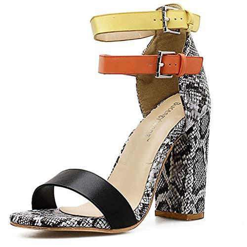 Strungten Damen Snake-Print Mischfarben High Heels Schnalle Sandalen Freizeitschuhe Mid Heel Chunky Block Knöchelriemen Kleid Sandalen Snake-print-high Heel