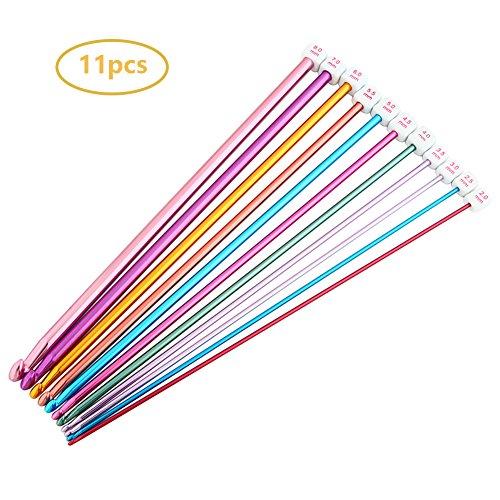 Juego de 11 agujas de tejer de crochet de aluminio, Multicolor, 2 mm a 8 mm, 13-MYZG