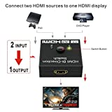 HDMI Splitter | GANA HDMI Switch Bidirectional 2 Input to 1 Output or 1 In to 2 Out, Supports 4K/3D/1080/HDCP Passthrough-HDMI Switcher for HDTV/Blu-Ray player/DVD / DVR/Xbox etc.