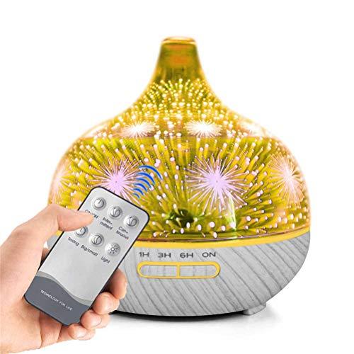 Jiahe Fernbedienung Aromatherapie Maschine 3D Glas Luftbefeuchter Luftreiniger mit 7 veränderbaren Farbe LED-Lichter, 3 Timer-Einstellungen-400ML,B