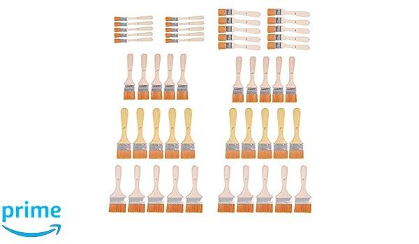 Justech 50pcs Pinceaux Peinture Pinceaux de 0.47//0.81//1.5//1.85//2.2inch Kit de Pinceaux /à Copeaux Brosses /à Laminer pour Plastifier Peinture Stain Vernis Gesso Colle