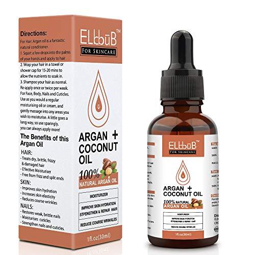 Bio Arganöl + Kokosöl 30ml - Kaltgepresst aus Marokko - Vegan - Anti-Aging Serum für Gesicht, Anti-Falten, Körper, Haare, Haut, Hände, Nägel
