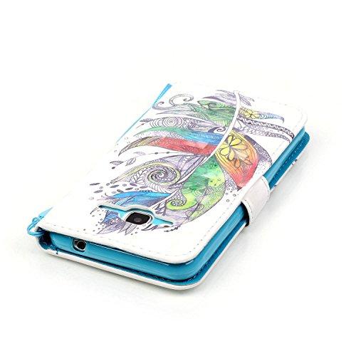 Coque pour Samsung Galaxy J3 2016, Etui pour Samsung Galaxy J3 2015, ISAKEN Peinture Style PU Cuir Flip Magnétique Portefeuille Etui Housse de Protection Coque Étui Case Cover avec Stand Support et Ca Plume colorée