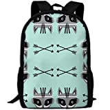 Raccoon Arrows Southwest Casual Laptop Backpack School Bag Shoulder Bag Travel ypack Handbag