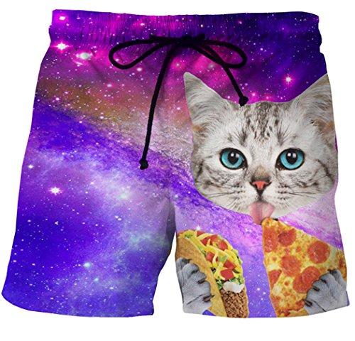 ACVIP Herren Sommer Casual Strand Shorts Gedruckte Katze Badeshorts Badehose(China 2XL/EU 46,Pizza-Katze) China Pizza