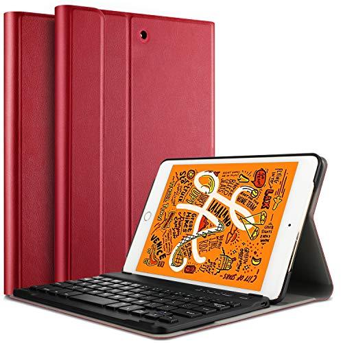 für iPad Mini 5 / iPad Mini 4 / iPad Mini 2019, [QWERTZ Deutsches], Ultradünn Ständer Schutzhülle mit magnetisch abnehmbar Wireless Tastatur für iPad Mini 5 / iPad Mini 4, Rot ()