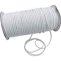 TUPOMAS Cinta Elástica Blanco 3mm*100M Rollo de Cordón Elástico Bandas para Costura y Manualidades