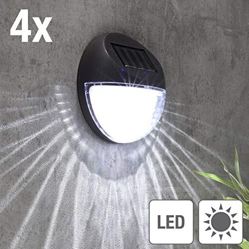 Kamaca 4er Set LED SOLAR Wandleuchte Zaunbeleuchtung wetterfeste Solar Außenleuchte Sicherheitslicht zur Vermeidung von Stürzen (4er Set LED Solar Wandleuchte) -