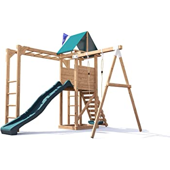 Monkey Bars Climbing Frame Pressure Treated Playhouse Wave Slide ...