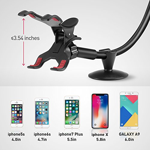 95734250c58744 ipow Universal Long Arm Windshield Dashboard Car Mount Holder Cradle with  Adjustable X Clamp & Dashboard Base Compatible with Smartphones iPhone 8 ...