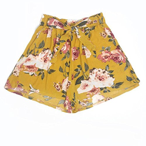 ESAILQ Shorts Womens Printing High Waist Loose Elastic Waist Ringer Pants Sports