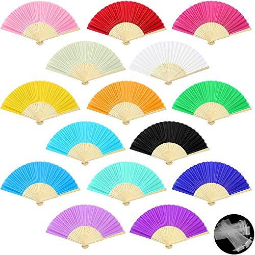 Evance 15 Stück Handfächer Silk Bambus Faltfächer Handheld Gefaltet Fan für Kirche Hochzeitsgeschenk, Party Favors, DIY Dekoration (15 Stück Farbe) -