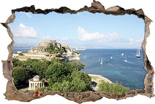 Pixxprint 3D_WD_2408_92x62 Griechische Küstenlandschaft Wanddurchbruch 3D Wandtattoo, Vinyl, Bunt, 92 x 62 x 0,02 cm
