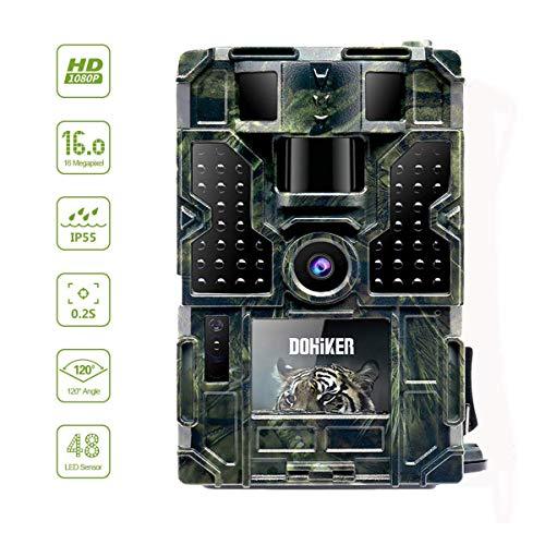 """Dohiker  - Wildkamera 16MP 1080P Jagdkamera Fotofalle Beutekameras 2.0\"""" TFT Farbbildschirm mit 120°Weitwinkel Vision Nachtsicht für Outdoor Natur Garten Garage und Haussicherheitsüberwachung"""