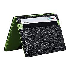 Idea Regalo - Vicloon Portafoglio Magica,Portafoglio Bifold Magico in Pelle Supporto di Carta Della Borsa - Verde