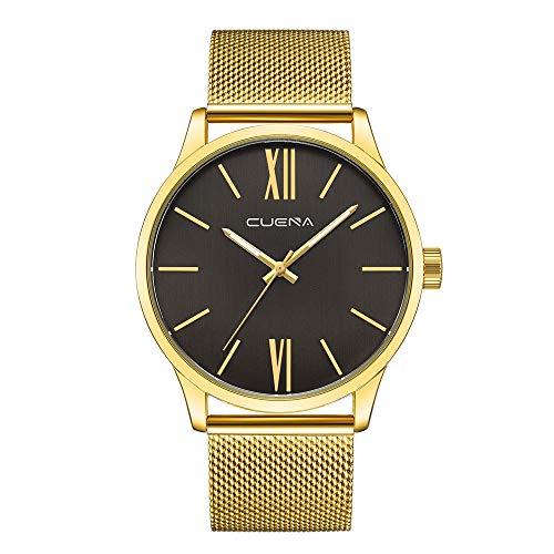 NINGSANJIN Herrenuhren schwarz Edelstahl Armbanduhren für Herren braun