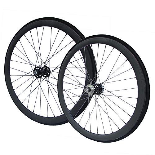 RIDDOX 700C 28 Zoll Laufradsatz mit Reifen Laufräder Fixie Singlespeed Hochflansch Fixed Gear Wheel Schwarz Matt 40 MM