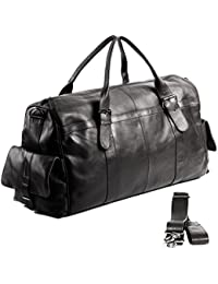 FEYNSINN grand sac de voyage ASHTON - bagage à main en cuir - sac bandoulière weekend noir (60 x 35 x 18 cm)