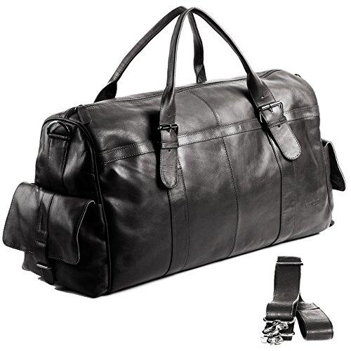 FEYNSINN XL Reisetasche ASHTON - Weekender - Handgepäck - Sporttasche echt Leder schwarz
