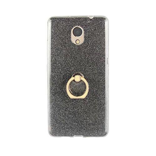 EKINHUI Case Cover Soft Flexible TPU Back Cover Case Shockproof Schutzhülle mit Bling Glitter Sparkles und Kickstand für Lenovo Vibe P2 ( Color : Gold ) Black
