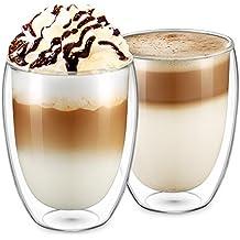 Ecooe 2-teiliges 350ml (Volle Kapazität) Doppelwandige Latte Macchiato Glaser Set Thermoglas Kaffeeglas