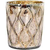 Lighthouse Glass Votive Candle Holder (8 Cm X 8 Cm X 10 Cm, Gold, LH23)